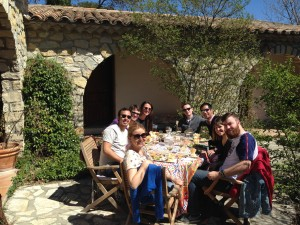 Lunch in the courtyard in Pic St. Loup